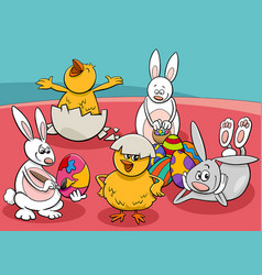 cartoon easter characters group comic vector image