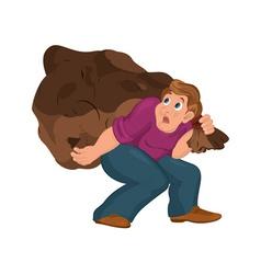 Cartoon man in purple top carries huge bag vector