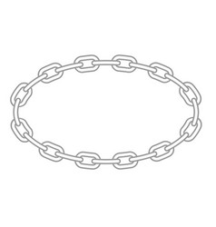 Chain oval frame - metallic links round border vector