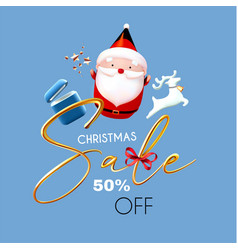 christmas sale 3d season offer banner with cute vector image