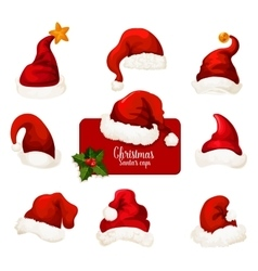 Christmas santa red hat and cap cartoon icon set vector