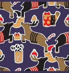 christmas seamless pattern background reindeer in vector image