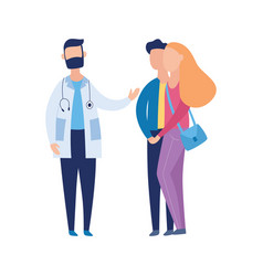 Couple and doctor on infertility consultation flat vector