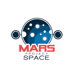 Creative astronomical logo with planet mars vector