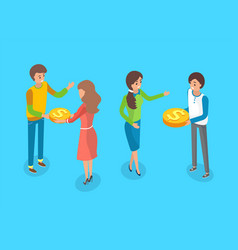 crowdfunding people giving gold coins cash money vector image