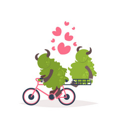 cute green monster riding bicycle carrying vector image