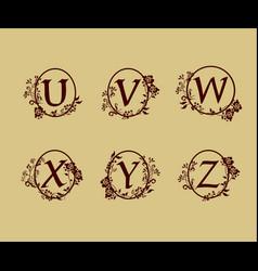 decoration letter u v w x y z logo design vector image