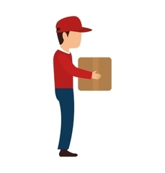 Delivery man red hat vector