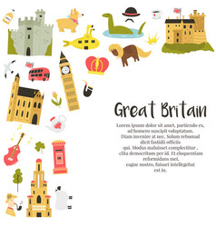 Design with famous symbols great britain vector