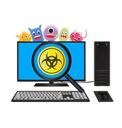 Desktop computer with virus computer scanning vector