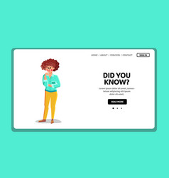 Did you know young woman asking question vector