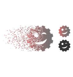 Disintegrating pixel halftone joke smiley gear vector