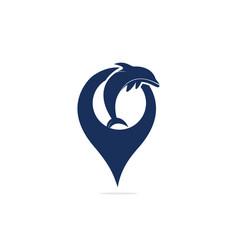 Dolphin logo with gps pointer design vector