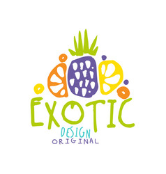 exotic logo template with tropical fruits vector image