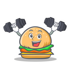 Fitness burger character fast food vector