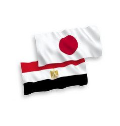 Flags japan and egypt on a white background vector