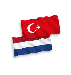 Flags turkey and netherlands on a white vector