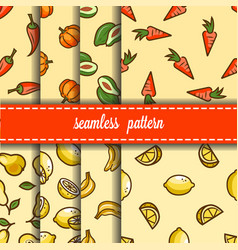 fruit and vegetables seamless pattern set vector image