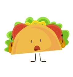 Funny fast food taco icon vector