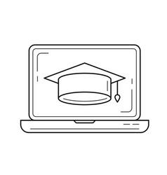 graduation cap on computer screen line icon vector image