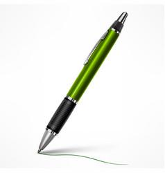 green tilt pen on white vector image