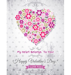 grey background with valentine heart of spring flo vector image