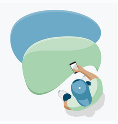 Guy and mobile messages on your smartphone vector