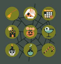 happy halloween green cobweb background trick vector image