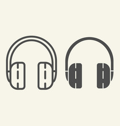 headphones line and glyph icon headset vector image