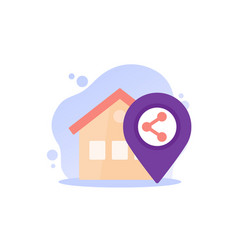 Home sharing flat icon vector