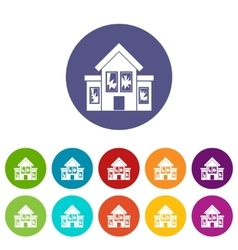 House with broken windows set icons vector image