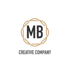 Initial letter mb luxurious minimalist elegant vector