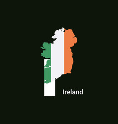Ireland initial letter country with map and flag vector