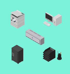 Isometric business set of scanner desk file rack vector
