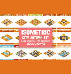 isometric set blocks module areas the vector image