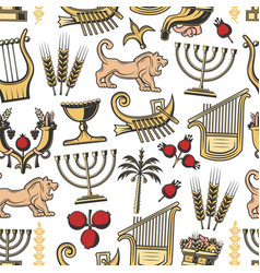 israel traditional symbols seamless pattern vector image