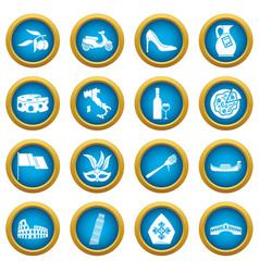 Italia icons blue circle set vector