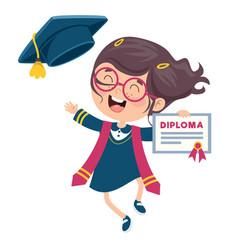 kid in graduation costume vector image