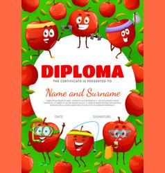 Kids diploma certificate cartoon apple characters vector