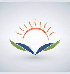 Knowledge logo design templatesunset open book vector