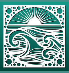 Laser cut panel sea landscape with waves and sun vector