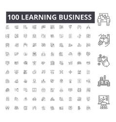 Learning business line icons signs set vector