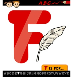 Letter f with feather cartoon vector