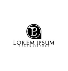 letter l p logo template with classical pin vector image