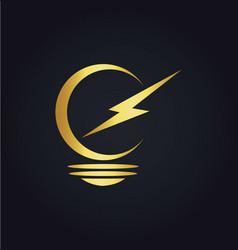 lightbulb electric gold logo vector image