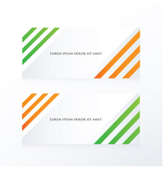 line abstract banner orange green vector image