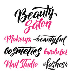 logo beauty salon lettering custom handmade vector image