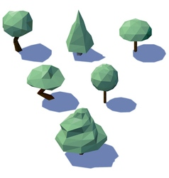 low poly trees vector image