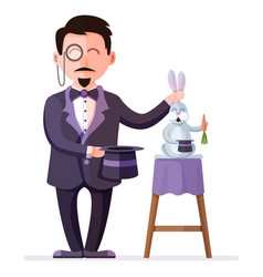 magician holding rabbit and magic hat vector image