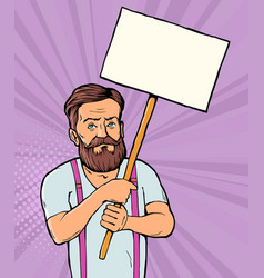 man with blank banner vector image